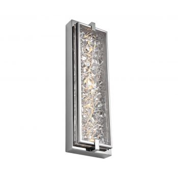 "Feiss Erin 19"" LED Clear Glass Wall Sconce in Polished Stainless Steel"