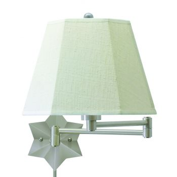 House of Troy Swing-Arm Wall Lamp Antique Silver w/Linen Hardback Shade