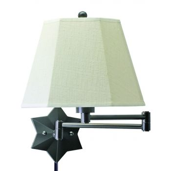 House of Troy Swing-Arm Wall Lamp Oil Rubbed Bronze w/Linen Hardback Shade