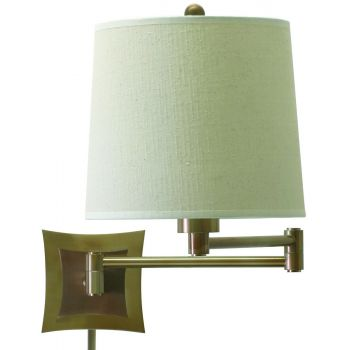 House of Troy Swing-Arm Wall Lamp in Antique Brass w/Linen Hardback Shade