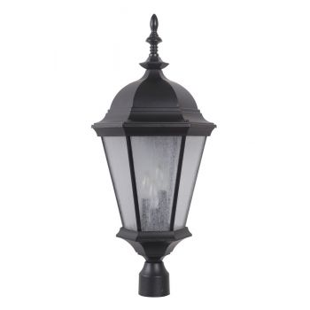 """Craftmade Chadwick 28.7"""" 3-Light Clear Seeded Post Mount in Midnight"""