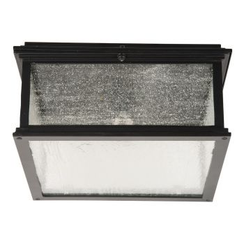 """Craftmade Gentry 13.13"""" Clear Seeded Glass Flush Mount in Midnight"""