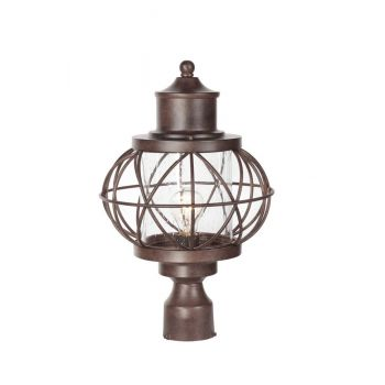 """Craftmade Revere 17.88"""" Clear Seeded Glass Post Mount in Aged Bronze"""