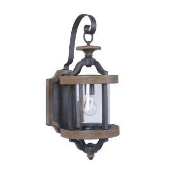 "Craftmade Ashwood 22.5"" Wall Lantern in Textured Black/Whiskey Barrel"