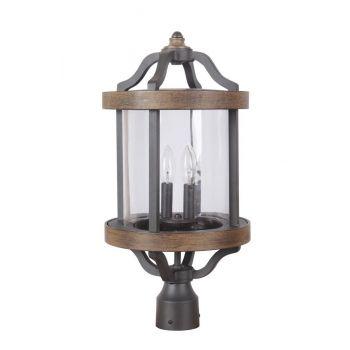 Craftmade Ashwood 2-Light Outdoor Post Lantern in Textured Black/Whiskey Barrel