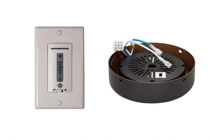 Monte Carlo Wired Wall Remote w/ Almond Switch Plate & Receiver Hub in Roman Bronze