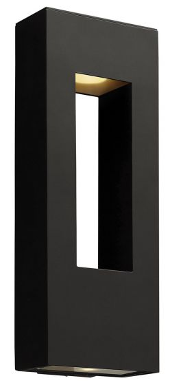 Hinkley Atlantis 1-Light LED Outdoor Large Wall Mount in Satin Black