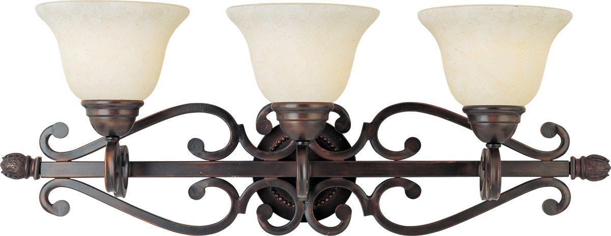 Oil Rubbed Bronze 3 Light Bathroom Vanity Wall Lighting: Maxim Lighting Manor 3-Light Bathroom Vanity Light, Oil
