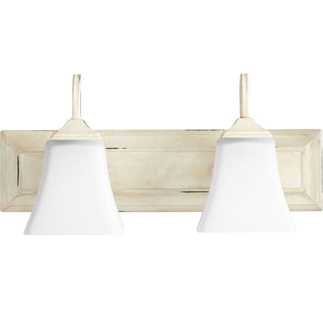 Quorum transitional 2 light 8 bathroom vanity light in persian white with satin opal