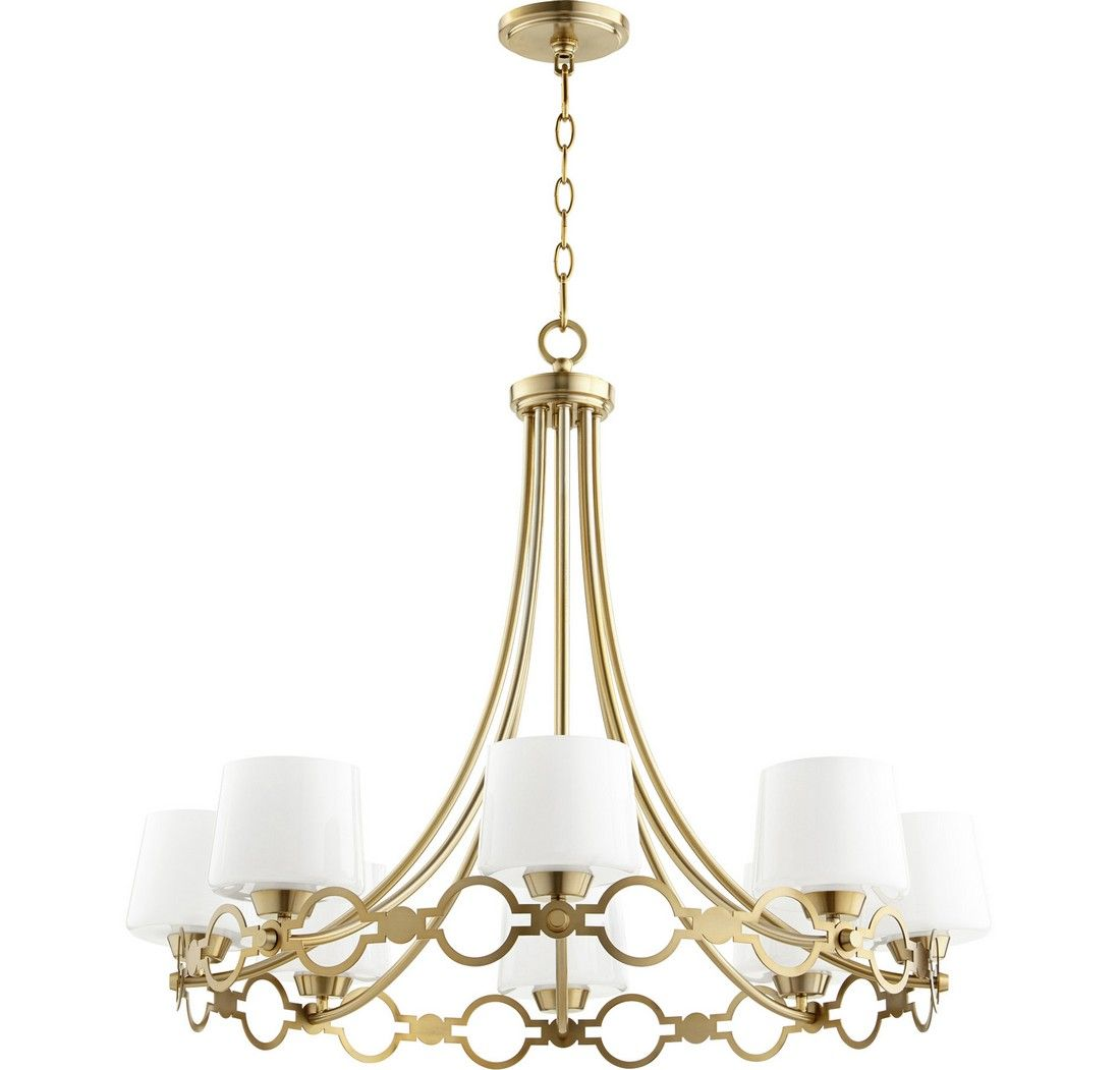 """Transitional: Quorum Durand 8-Light 27"""" Transitional Chandelier In Aged"""