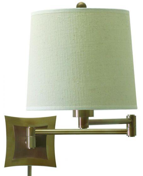 House of Troy Swing-Arm Wall Lamp in Antique Brass w/Linen Hardback Shade