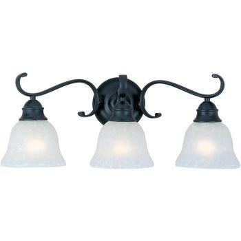 Maxim Lighting Linda 3-Light Bathroom Vanity Light, Black with Ice Glass