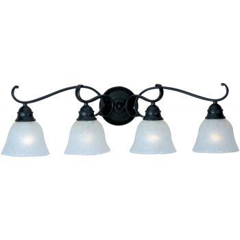 Maxim Linda 4-Light Bathroom Vanity Light in Black with Ice Glass