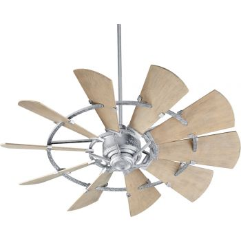"Quorum Windmill 52"" Indoor/Outdoor Ceiling Fan in Galvanized"