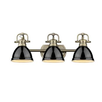 "Golden Duncan 24.5"" 3-Light Bathroom Vanity Light in Aged Brass with Black Shades"