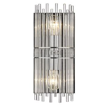 Golden Lighting Luciano Bathroom Vanity Light in Chrome with  Clear Crystal Rods