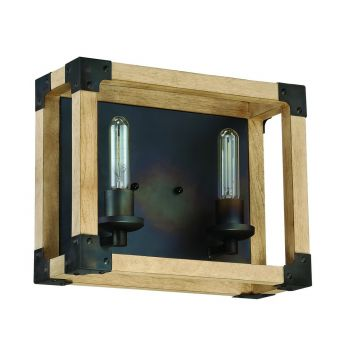 """Craftmade Cubic 2-Light 14"""" Bathroom Vanity Light in Fired Steel with Natural Wood"""
