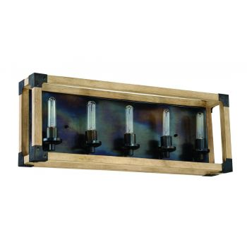 """Craftmade Cubic 5-Light 30"""" Bathroom Vanity Light in Fired Steel with Natural Wood"""