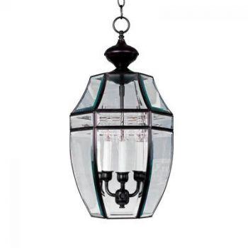 Maxim Heritage 3-Light Outdoor Hanging Lantern in Satin Nickel