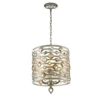 Golden Lighting Coronada 3-Light Pendant in White Gold w/ Filigree Shade