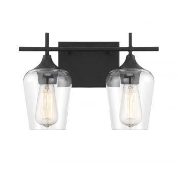 Savoy House Octave 2-Light Bathroom Vanity Light in Black