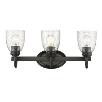 "Golden Lighting Parrish 20.63"" 3-Light Bathroom Vanity Light in Black"