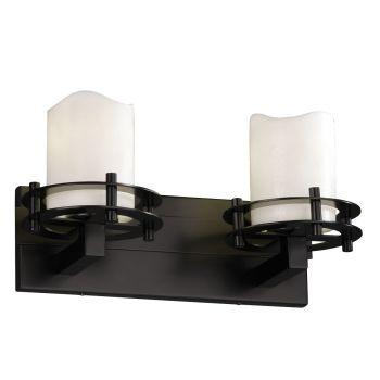 "Justice Design CandleAria 16.5"" 2-Light Bathroom Vanity Light in Matte Black"
