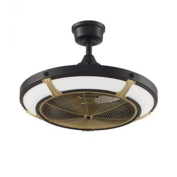 "Fanimation Pickett 24"" LED Indoor/Outdoor Ceiling Fan in Black and Brass"