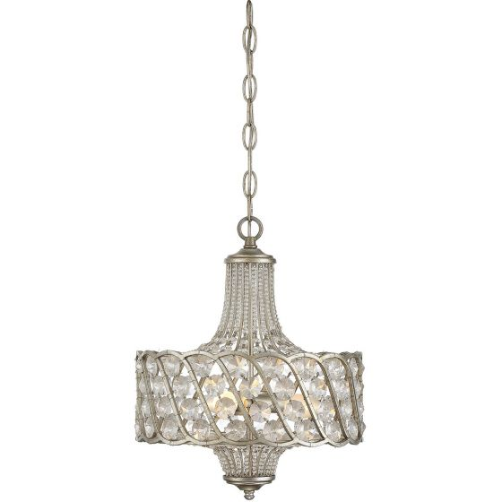 "Savoy House Mini Chandelier 12.5"" 3-Light Mini Chandelier in Silver Lace"