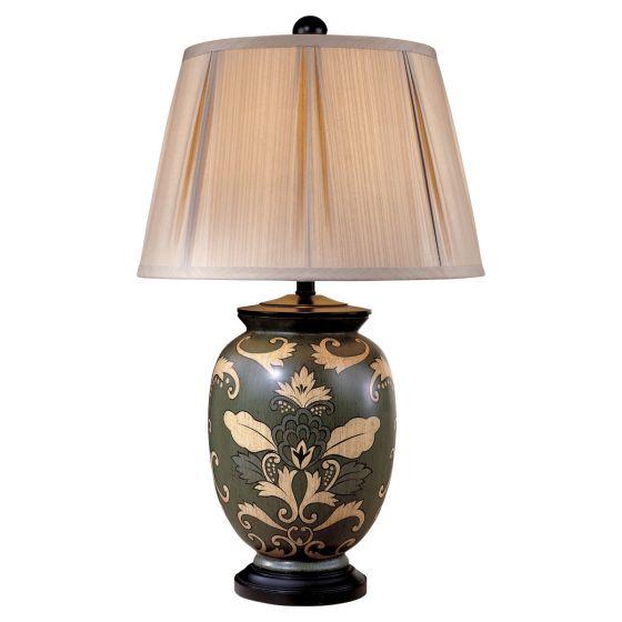 Minka Lavery Ambience Black Paisley Porcelain Table Lamp in Black