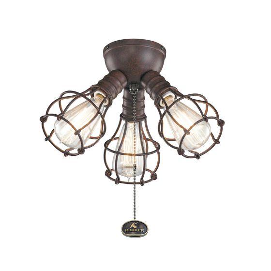 Kichler 3-Light Industrial Fan Light Kit In Tannery Bronze