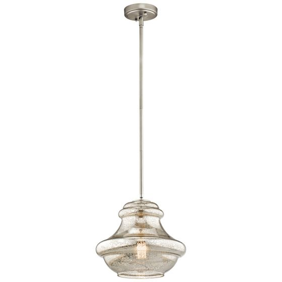 "Kichler Everly 1-Light 12"" Pendant in Brushed Nickel"