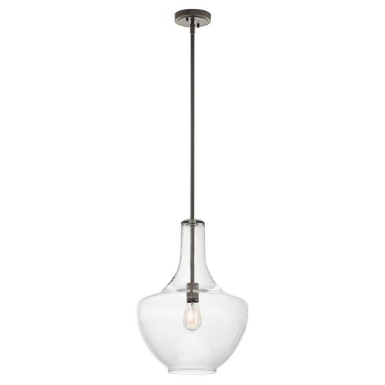 """Kichler Everly 13.75"""" Clear Glass Pendant in Olde Bronze"""