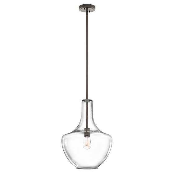 """Kichler Everly 13.75"""" Seeded Glass Pendant in Olde Bronze Finish"""