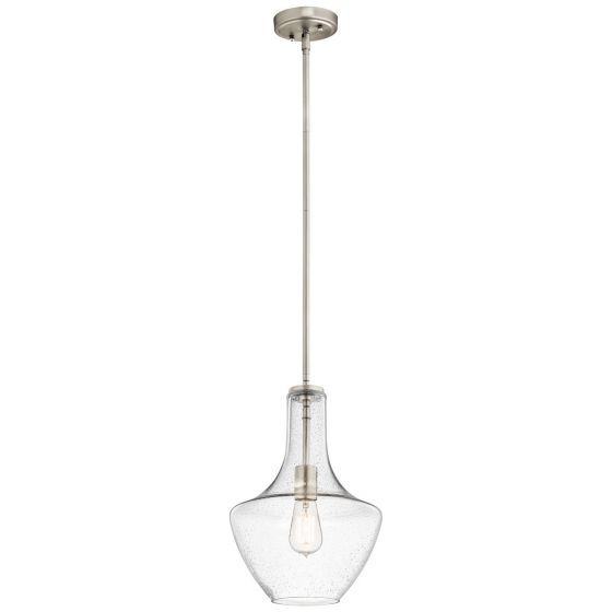 "Kichler Everly 1-Light 10.5"" Pendant in Brushed Nickel"