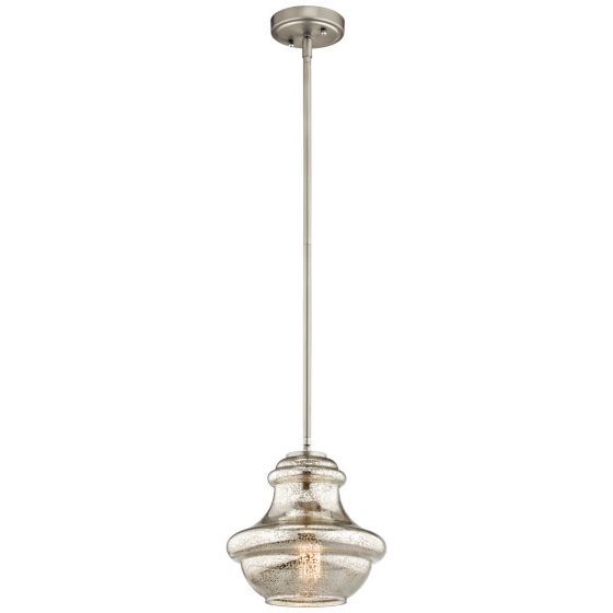 "Kichler Everly 1-Light 9.5"" Mini Pendant in Brushed Nickel"