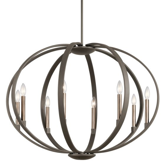 Kichler Elata 8-Light Drum Pendant in Olde Bronze