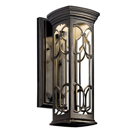 "Kichler Franceasi 14.5"" LED Small Outdoor Wall in Olde Bronze"