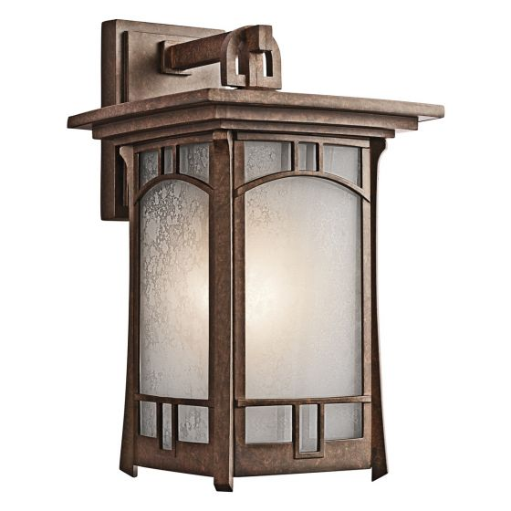 "Kichler Soria 1-Light 15.25"" Large Outdoor Wall in Aged Bronze"