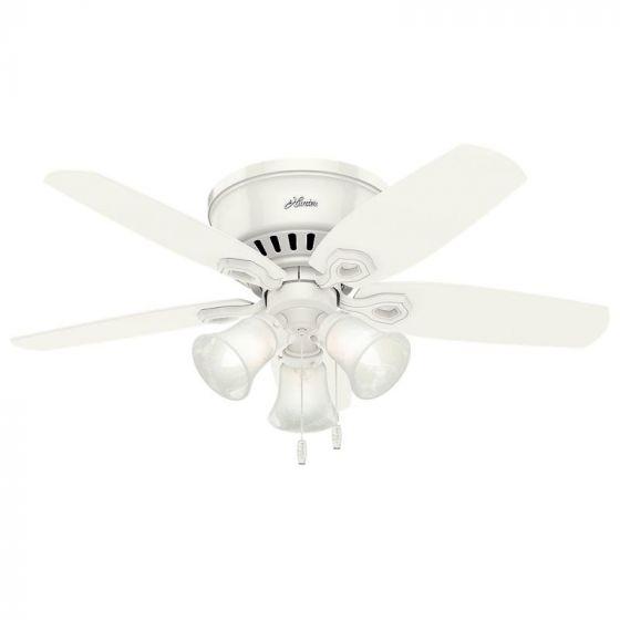 "Hunter Builder 42"" Low Profile Indoor Ceiling Fan in White"