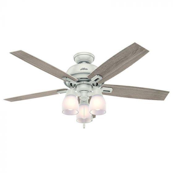 """Hunter Donegan 52"""" 3-Light LED Indoor Ceiling Fan in White"""