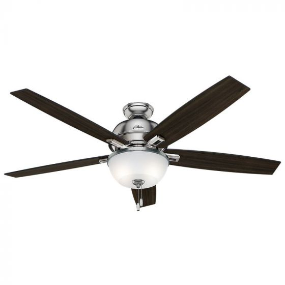 "Hunter Donegan Bowl 60"" 2-Light LED Indoor Ceiling Fan in Nickel/Chrome"
