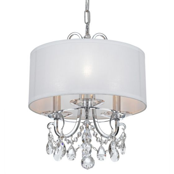 """Crystorama Othello 3-Light 15"""" Mini Chandelier in Polished Chrome with Clear Swarovski Strass Crystals"""
