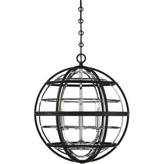 """Savoy House Vega 18"""" 3-Light Pendant in Black/Chrome"""