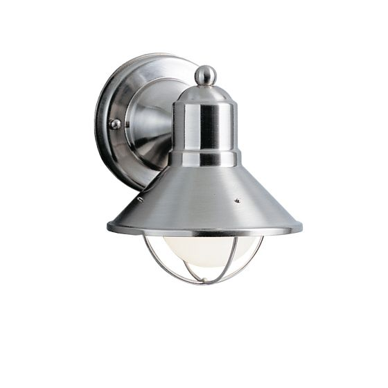 """Kichler Seaside 1-Light 7.5"""" Small Outdoor Wall in Brushed Nickel"""