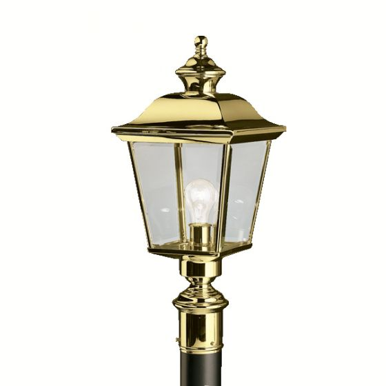 Kichler Bay Shore Outdoor Post Lantern in Polished Brass