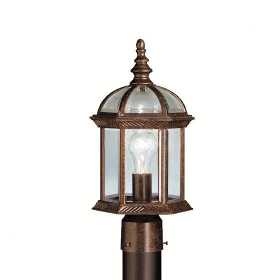 "Kichler Barrie 1-Light 16"" Outdoor Post Lantern in Tannery Bronze"