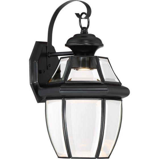 "Quoizel Newbury 14"" Clear LED Outdoor Wall Lantern in Mystic Black"