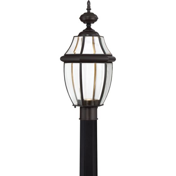 "Quoizel Newbury 21.5"" Clear LED Outdoor Post Top Light in Medici Bronze"