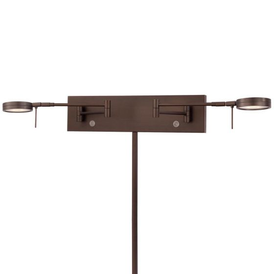 """George Kovacs George'S Reading Room 2-Light 5"""" Wall Lamp in Copper Bronze Patina"""